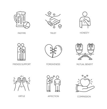 Friends relationship pixel perfect linear icons set. Social connection, strong interpersonal bond customizable thin line contour symbols. Isolated vector outline illustrations. Editable stroke icon
