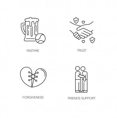 Best friends pixel perfect linear icons set. Customizable thin line contour symbols. Pastime, trust, forgiveness and friends support. Isolated vector outline illustrations. Editable stroke icon