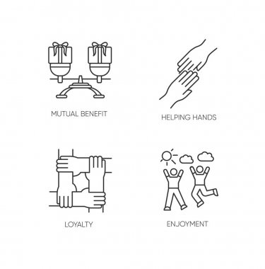 Friends togetherness pixel perfect linear icons set. Customizable thin line contour symbols. Mutual benefit, helping hands, loyalty, enjoyment. Isolated vector outline illustrations. Editable stroke icon