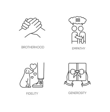 Friendly bonds pixel perfect linear icons set. Customizable thin line contour symbols. Brotherhood, empathy, fidelity and generosity. Isolated vector outline illustrations. Editable stroke icon