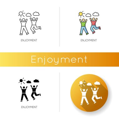 Enjoyment icon. Linear black and RGB color styles. Friendship, togetherness, happiness. Active pastime, outdoor recreation. Friends bonding activities. isolated vector illustrations icon
