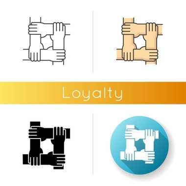 Loyalty icon. Linear black and RGB color styles. Strong social connection, collective bonding. Friendship, unity, teamwork. People holding together hands isolated vector illustrations icon