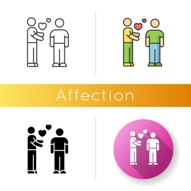 Affection icon. Linear black and RGB color styles. Romantic feelings, love, amorous relationship. Valentine day. Emotional attachment, passionate romance. isolated vector illustrations icon