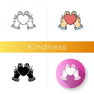 Kindness icon. Linear black and RGB color styles. Emotional affection, love and support, friendship symbol. Voluntary help, charity. Hands holding heart isolated vector illustrations icon