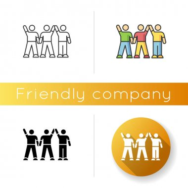 Friendly company icon. Linear black and RGB color styles. Friendship, social communication, fellowship. Cheerful best friends group spend time together. isolated vector illustrations icon