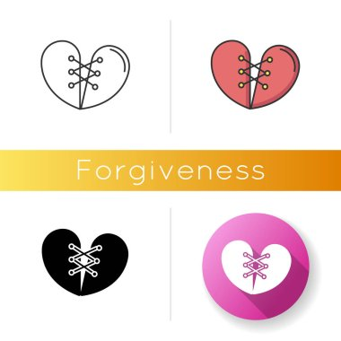Forgiveness icon. Linear black and RGB color styles. Strong interpersonal connection, emotional affection, friendship. Overcoming resentment, negative emotions. isolated vector illustrations icon