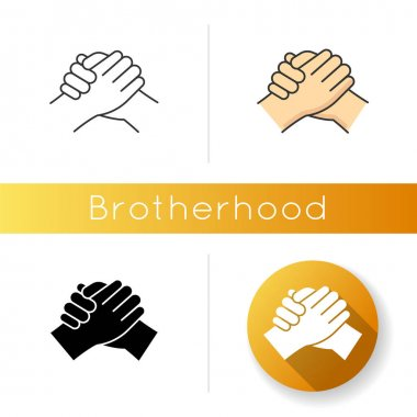 Brotherhood icon. Linear black and RGB color styles. Strong friendship, interpersonal bond between men, Togetherness, unity and fellowship. Manly handshake isolated vector illustrations icon