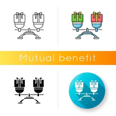 Mutual benefit icon. Linear black and RGB color styles. Equality in relationship. Equal friendship, interpersonal relations. Scale with presents in balance isolated vector illustrations icon