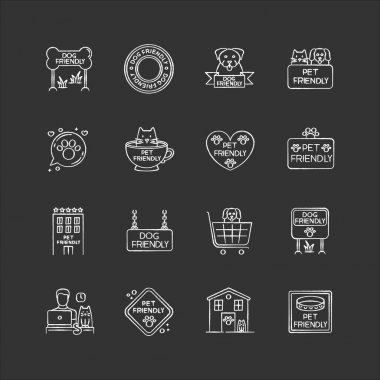 Pet friendly signs chalk white icons set on black background. Cats and dogs allowed territories and institutions. Domestic animals welcome public places. Isolated vector chalkboard illustrations icon