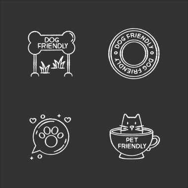 Cat and dog friendly areas emblems chalk white icons set on black background. Four-legged friends allowed territories signs. Kitty and doggy welcome. Isolated vector chalkboard illustrations icon
