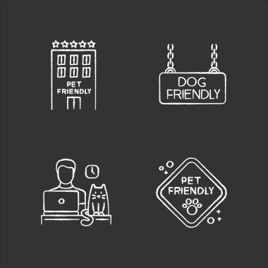 Pet friendly companies chalk white icons set on black background. Four-legged friends allowed hotels and offices. Animals welcome, cats and dogs permitted. Isolated vector chalkboard illustrations icon