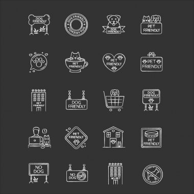 Dog friendly and no pet signs chalk white icons set on black background. Cats and dogs allowed and banned areas. Animals welcome and not allowed zones. Isolated vector chalkboard illustrations icon