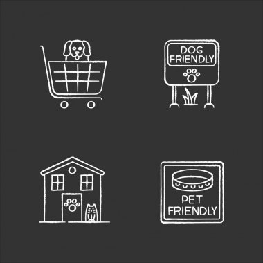Pet friendly areas chalk white icons set on black background. Four-legged friends welcome shops and houses. Domestic animals allowed parks and supermarkets. Isolated vector chalkboard illustrations icon