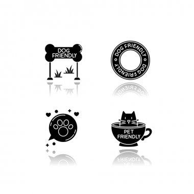 Cat and dog friendly areas emblems drop shadow black glyph icons set. Four-legged friends allowed territories signs. Kitty and doggy welcome. Isolated vector illustrations on white space icon