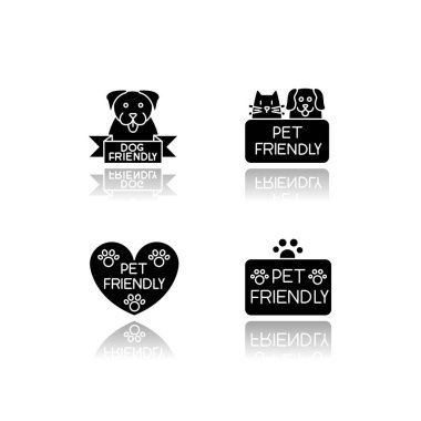 Pet friendly service drop shadow black glyph icons set. Four-legged friends grooming salon. Domestic animals care, cats and dogs allowed areas. Isolated vector illustrations on white space icon