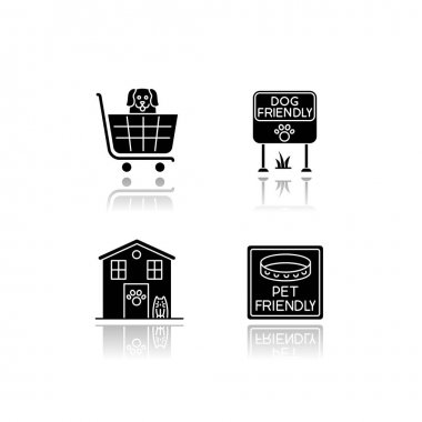 Pet friendly areas drop shadow black glyph icons set. Four-legged friends welcome shops and houses. Domestic animals allowed parks and supermarkets. Isolated vector illustrations on white space icon