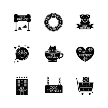 Pet friendly emblems black glyph icons set on white space. Four-legged friends allowed territories, kitty and doggy permitted, welcome public places. Silhouette symbols. Vector isolated illustration icon