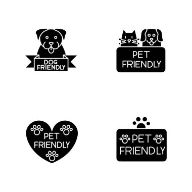 Pet friendly service black glyph icons set on white space. Four-legged friends grooming salon. Domestic animals care, cats and dogs allowed areas. Silhouette symbols. Vector isolated illustration icon
