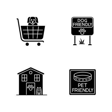Pet friendly areas black glyph icons set on white space. Four-legged friends welcome shops and houses. Domestic animals allowed parks and supermarkets. Silhouette symbols. Vector isolated illustration icon