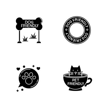 Cat and dog friendly areas emblems black glyph icons set on white space. Four-legged friends allowed territories signs. Kitty and doggy welcome. Silhouette symbols. Vector isolated illustration icon