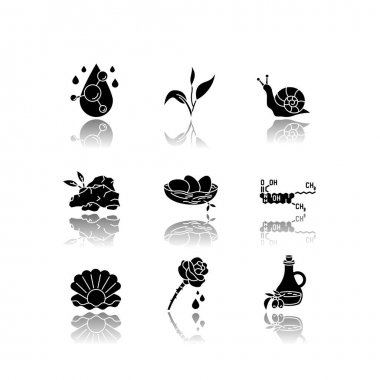 Cosmetic ingredient drop shadow black glyph icons set. Chemical formula for cosmetology. Dermatology treatment. Natural skincare. Organic components. Isolated vector illustrations on white space icon
