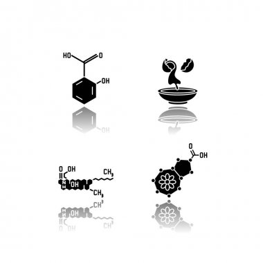 Cosmetic ingredient drop shadow black glyph icons set. Salicylic acid. Egg white. Ceramides formula. Azulene molecular structure. Beauty compound. Isolated vector illustrations on white space icon