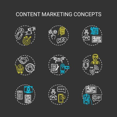 Content marketing chalk RGB color concept icons set. Internet advertising, online customer attraction strategies idea. Vector isolated chalkboard illustrations on black background icon