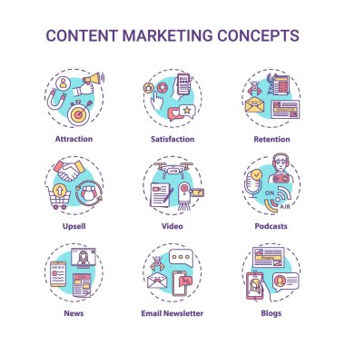 Content marketing concept icons set. Internet advertising, online customer attraction strategies idea thin line RGB color illustrations. Vector isolated outline drawings. Editable stroke icon