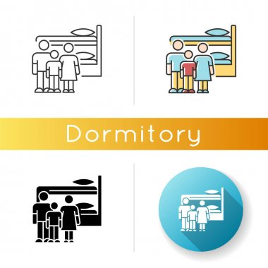 Family dormitory icon. Shared dorm room. Common bedroom. Accommodation facility. Bunk bed. Hostel. Linear black and RGB color styles. Linear, black and RGB color styles. Isolated vector illustrations icon