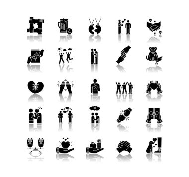 Friendly relationship drop shadow black glyph icons set. Friendship, interpersonal communication, emotional bond symbols. Best friends, buddies isolated vector illustrations on white space icon