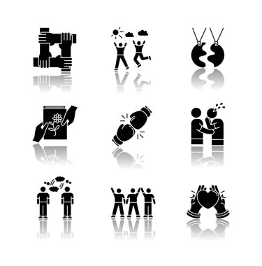 Friendship drop shadow black glyph icons set. Emotional affection, interpersonal bond, social relationship symbols. Togetherness and support. Isolated vector illustrations on white space icon