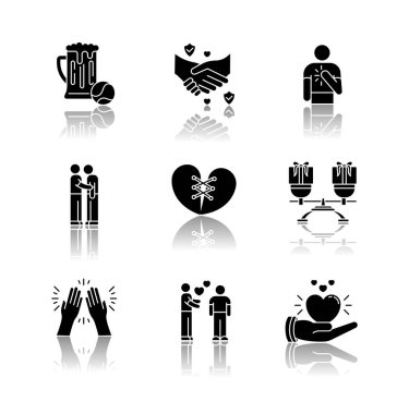 Friends relationship drop shadow black glyph icons set. Social connection, strong interpersonal bond symbols. Friendly communication, fellowship. Isolated vector illustrations on white space icon