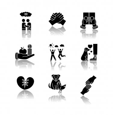 Friendship and support drop shadow black glyph icons set. Best friends connection. Interpersonal relationship, friendly interspecies bond symbols. Isolated vector illustrations on white space icon