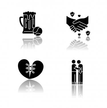 Best friends drop shadow black glyph icons set. Strong interpersonal bond, friendship symbols. Pastime, trust, forgiveness and friends support. Isolated vector illustrations on white space icon