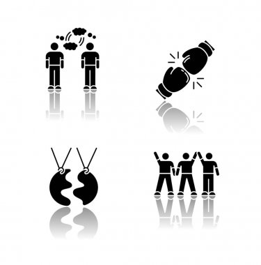 Friendship types drop shadow black glyph icons set. Mutual understanding, rivalry, best friend and friendly company. Social connection symbols. Isolated vector illustrations on white space icon