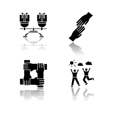 Friends togetherness drop shadow black glyph icons set. Friendship, unity and communication symbols. Mutual benefit, helping hands, loyalty and enjoyment. Isolated vector illustrations on white space icon