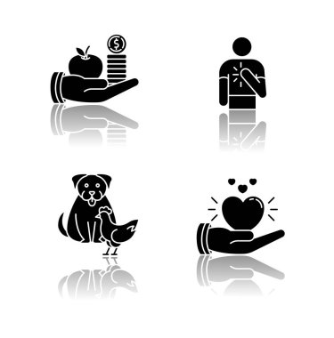 Friendly support drop shadow black glyph icons set. Interpersonal relationship symbols. Altruism, honesty, interspecies friendship and compassion. Isolated vector illustrations on white space icon
