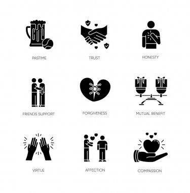 Friends relationship black glyph icons set on white space. Social connection, strong interpersonal bond silhouette symbols. Friendly communication, fellowship. Vector isolated illustration icon