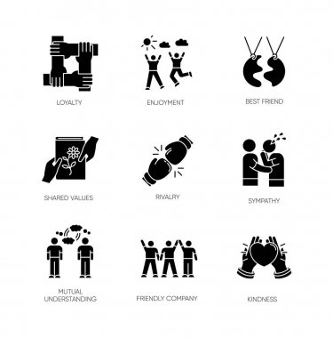 Friendship black glyph icons set on white space. Emotional affection, interpersonal bond, social relationship silhouette symbols. Togetherness and support. Vector isolated illustration icon