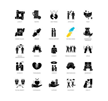 Friendly relationship black glyph icons set on white space. Friendship, interpersonal communication, emotional bond silhouette symbols. Best friends, buddies vector isolated illustration icon