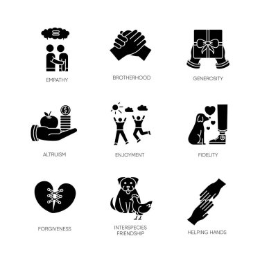 Friendship and support black glyph icons set on white space. Best friends connection. Interpersonal relationship, friendly interspecies bond silhouette symbols. Vector isolated illustration icon