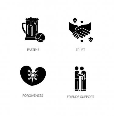 Best friends black glyph icons set on white space. Strong interpersonal bond, friendship silhouette symbols. Pastime, trust, forgiveness and friends support. Vector isolated illustration icon