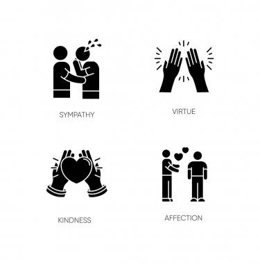 Social connection black glyph icons set on white space. Interpersonal relationship, friendship silhouette symbols. Sympathy, virtue, kindness and affection. Vector isolated illustration icon