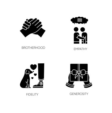Friendly bonds black glyph icons set on white space. Strong emotional attachment, friendship silhouette symbols. Brotherhood, empathy, fidelity and generosity. Vector isolated illustration icon