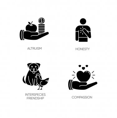 Friendly support black glyph icons set on white space. Interpersonal relationship silhouette symbols. Altruism, honesty, interspecies friendship and compassion. Vector isolated illustration icon