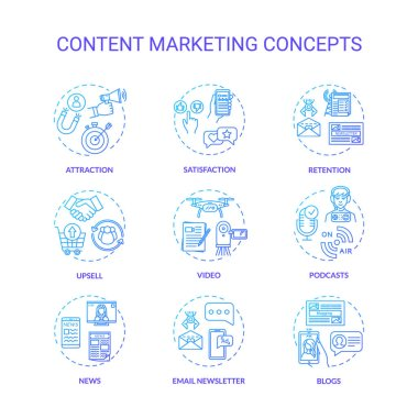 Content marketing concept icons set. Internet advertising, online customer attraction strategies idea thin line RGB color illustrations. Vector isolated outline drawings icon