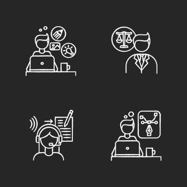 Distant workers chalk white icons set on black background. Creative and graphic design, transcription and legal service. Freelance lawyer and designer. Isolated vector chalkboard illustrations icon