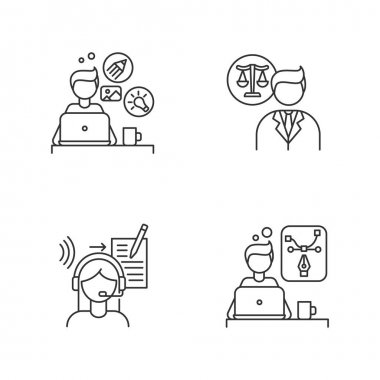 Distant workers pixel perfect linear icons set. Creative and graphic design, legal service. Customizable thin line contour symbols. Isolated vector outline illustrations. Editable stroke icon