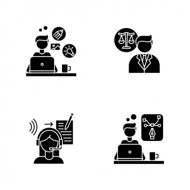 Distant workers black glyph icons set on white space. Creative and graphic design, transcription and legal service. Freelance lawyer and designer. Silhouette symbols. Vector isolated illustration icon