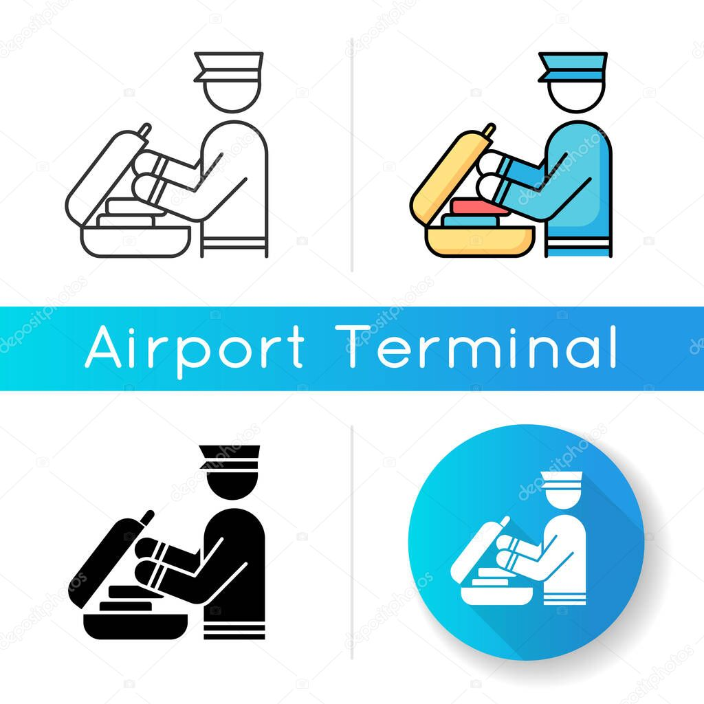 Security Check Luggage Icon Safe Control For Baggage Passenger Bag Inspection Suitcase Custom Check Before Airplane Departure Linear Black And Rgb Color Styles Isolated Vector Illustrations Premium Vector In Adobe Illustrator